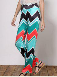 Stylish Mid-Waisted Wave Print Loose-Fitting Women's Exumas Pants - GREEN