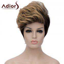 Fashion Blonde Mixed Black Short Capless Fluffy Wave Synthetic Adiors Bump Wig For Women