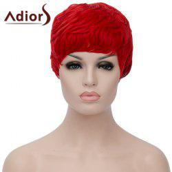 Spiffy Ultrashort Adiors Hair Capless Fluffy Straight Red Black Ombre Synthetic Bump Wig For Women