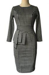 Plaid  Sheath Pencil Work Long Sleeve Peplum Dress