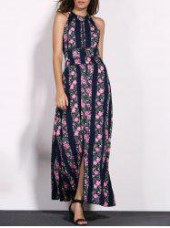 Casual Floral Boho Backless Long Swing Dress