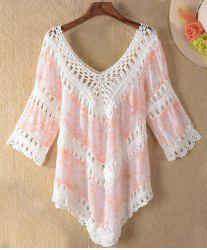 Trendy V-Neck 3/4 Sleeve Asymmetrical Hollow Out Women's Cover-Up - ORANGEPINK