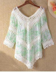 Crochet Panel Tunic Beach Cover Up - LIGHT GREEN