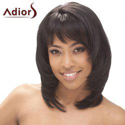 Fluffy Straight Tail Adduction Synthetic Graceful Medium Layered Side Bang Adiors Wig For Women -
