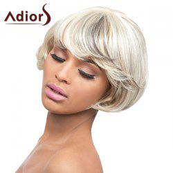Attractive Mixed Color Short Fashion Straight Tail Adduction Synthetic Adiors Wig For Women