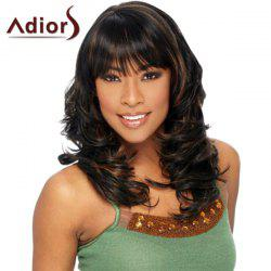 Stunning Brown Highlight Long Shaggy Wavy Capless Full Bang Adiors Wig For Women - BLACK AND BROWN