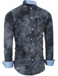 Abstract Tie-dye Patter One Pocket Shirt Collar Long Sleeves Slim Fit Shirt For Men - GRAY