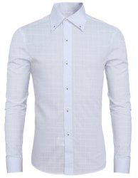 Laconic Shirt Collar Classic Plaid Long Sleeves Button-Down Shirt For Men -