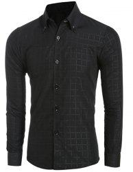 Laconic Shirt Collar Classic Plaid Long Sleeves Button-Down Shirt For Men