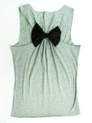Stylish Scoop Neck Sleeveless Letter Print Bowknot Tank Top For Women