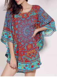 Retro Style Scoop Neck Batwing Sleeve Ethnic Print Loose Dress For Women -