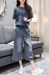 Stylish Denim Beaded T-Shirt + Wide-Leg Jeans Women's Twinset - PURPLISH BLUE S