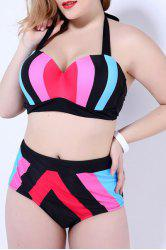 Halter Plus Size Color Block High Waist Bathing Suit