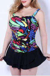 Sweet Style Square Neck Plus Size Colorful Printed Swimwear For Women -