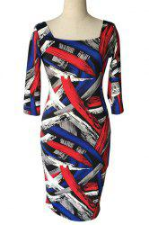Stylish Square Neck 3/4 Sleeve Colorful Printed Plus Size Bodycon Dress For Women -
