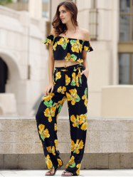 Charming Off-The-Shoulder Short Sleeve Floral Print Crop Top + Self Tie Pants Twinset For Women -