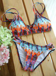 Stylish Strappy Abstract Feather Print Colorful Bikini Set For Women