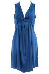 Stylish Women's Plunging Neck Pleated Solid Color Dress - LAKE BLUE S