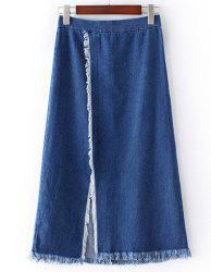 Chic Slit Fringed Denim Skirt For Women -