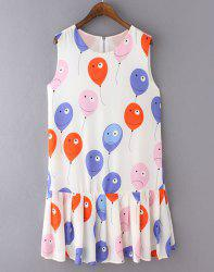 Cute Balloon Printed Pleated Sundress For Women -