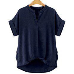 Stylish V-Neck Short Sleeve Linen Blouse For Women