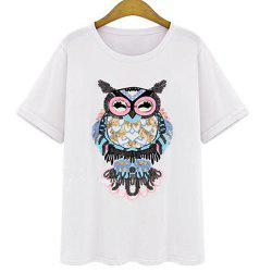 Stylish Round Neck Short Sleeves Sequined T-Shirt For Women