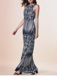 Maxi Print Cut Out Sleeveless Prom Dress