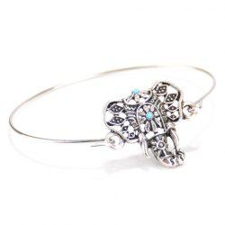 Tribal Elephant Head Shape Embellished Bracelet - SILVER