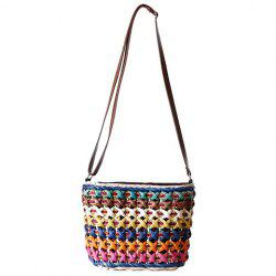 Casual Color Matching and Weaving Design Crossbody Bag For Women - BLUE
