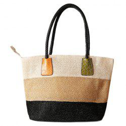 Casual Straw Color Block Beach Bag - OFF-WHITE