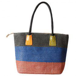 Casual Straw Color Block Beach Bag - BLUE