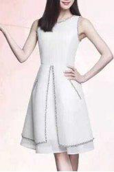 Stylish Women's Jewel Neck Sleeveless Beaded A-Line Dress -