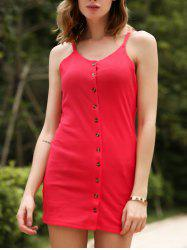 Chic Spaghetti Strap Buttoned Sheath Red Dress For Women -