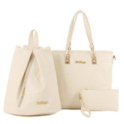 Trendy Metallic and Embossing Design Shoulder Bag For Women - OFF-WHITE
