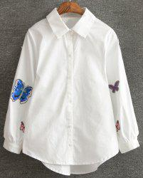 Chic Lantern Sleeve Butterfly Embroidered Shirt For Women