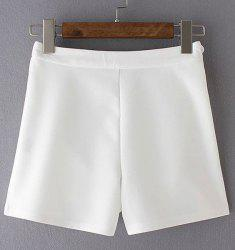 Casual Solid Color Zippered Mini Shorts For Women -