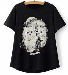 Casual Jewel Collar Short Sleeve Kitten Print T-Shirt For Women -