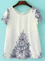 Casual Jewel Collar Short Sleeve Porcelain Print Blouse For Women