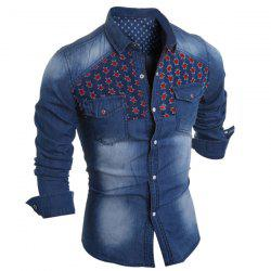 Slimming Turn-Down Collar Color Block Holes Design Long Sleeve Men's Denim Shirt - LIGHT BLUE