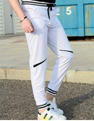 Contrast Striped Drop Crotch Joggers - WHITE