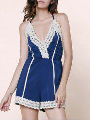 Stylish Spaghetti Strap Sleeveless Spliced Laciness Women's Romper - PURPLISH BLUE L
