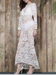 Lace Sheer Long Sleeve Mermaid Prom Backless Dress -