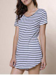 Summer Casual Striped Dress With Sleeves - WHITE XL