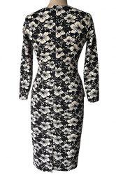 Vintage Style Round Neck 3/4 Sleeve Floral Print Pencil Dress For Women