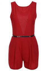 Pockets Open Back Romper with Belt -