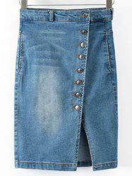 Stylish Buttoned Slit Women's Bodycon Denim Skirt - DEEP BLUE