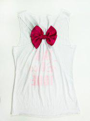 Women's Stylish U-Neck Letter Hollow Out Bowknot Decorated Tank Top