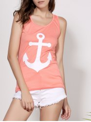Stylish Scoop Neck Sleeveless Printed Bowknot Embellished Women's Tank Top - ORANGE
