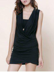 Stunning Plunging Neck Sleeveless Ruffled Solid Color Women's Dress -