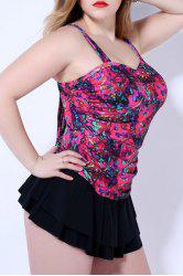 Sweet Style Square Neck Plus Size Printed One Piece Backless Swimwear For Women -